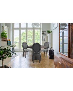 Louis XVI Set mit 2 Medaillon Stühlen, Stoffbezug Grau
