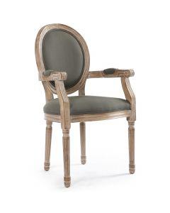 Louis XVI Cosy Set mit 2 Medaillon Stühlen, Stoffbezug Grau