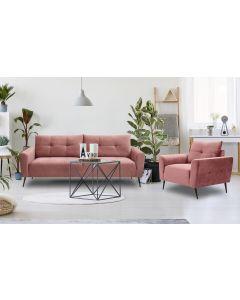 Enrico 3-Sitzer Sofa mit Samtbezug Rosa