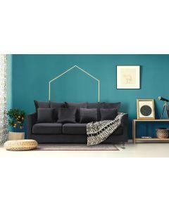 Olsen 3-Sitzer Sofa mit Samtbezug Schwarz