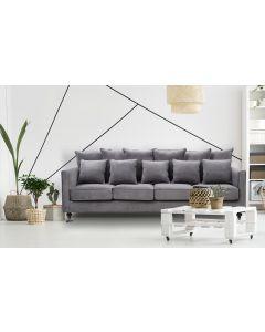 Olsen 4-Sitzer Sofa mit Samtbezug Dunkelgrau