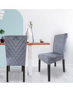 Shaliman Set mit 2 Stühlen mit Samtbezug Silber
