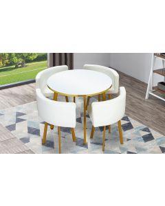 Riga Tischgruppe mit rundem Tisch und vier Stühlen, Weiß und Kunstleder Weiß