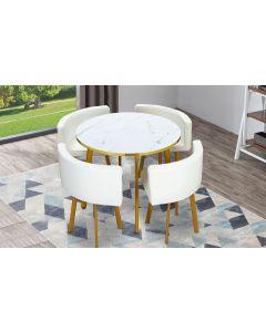 Riga Tischgruppe mit rundem Tisch und vier Stühlen, Marmor Effekt und Kunstleder Weiß