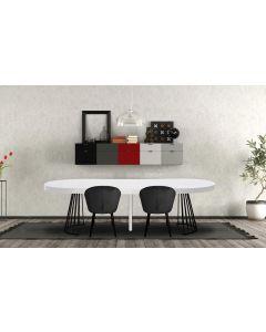 Grivery Runder Ausziehtisch mit schwarzen Tischbeinen, Weiß