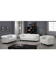 Grand Canapé Chesterfield 3-Sitzer Sofa Weiß