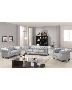 Grand Canapé Chesterfield 3-Sitzer Sofa Silber