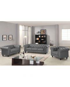 Grand Canapé Chesterfield 3-Sitzer Sofa Grau