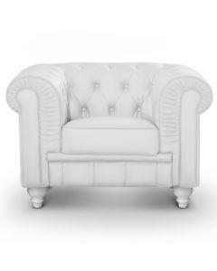 Le véritable fauteuil Chesterfield capitonné blanc