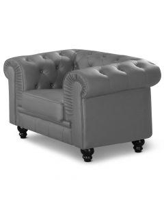 Grand fauteuil Chesterfield - Sessel Grau