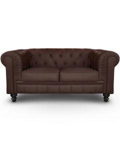 Le véritable canapé Chesterfield 2 places capitonné marron