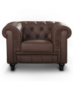 Le véritable fauteuil Chesterfield capitonné marron