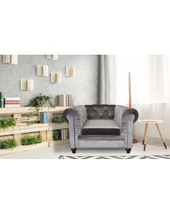 Grand fauteuil Chesterfield - Sessel mit Samtbezug Silber