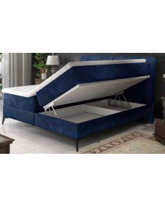 Aderito Bett mit Stauraum, Samtbezug Blau 160cm