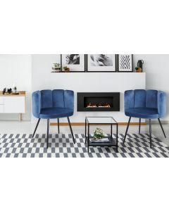 Amela Set mit 2 Stühlen, Samtbezug Blau