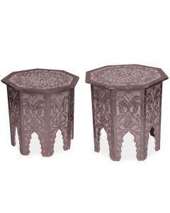 Lot de 2 tables d'appoint Babou Marron