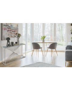 Britannia Konsolentisch mit Glasplatte und silbernen Tischbeinen