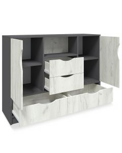 Caradec Sideboard 120cm Grau und helles Holz