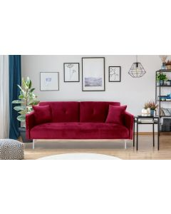 Carla 3-Sitzer Schlafsofa mit Samtbezug Rot