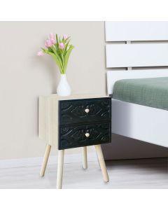Catana Nachttisch mit 2 Schubladen Schwarz