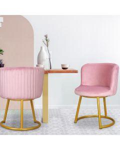 Corsica Set mit 2 Stühlen mit Samtbezug Rosa