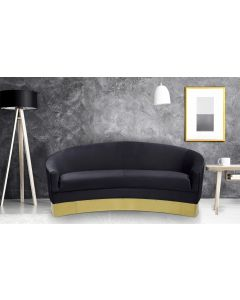 Curva 3-Sitzer Sofa mit goldenenen Sockel und Samtbezug Schwarz