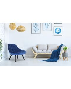 Danios Set mit 2 Sesseln mit Samtbezug Blau