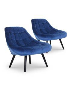 Lot de 2 fauteuils Danios Velours Bleu