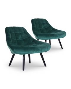 Lot de 2 fauteuils Danios Velours Vert