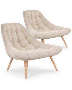 Lot de 2 fauteuils Danios Tissu Beige