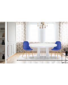 Gao Set mit 4 skandinavischen Stühlen Stoffbezug Blau