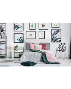 Diam Kopfteil Bett 160cm mit Kunstlederbezug Weiß