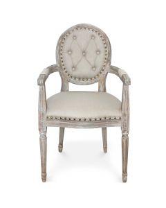 Louis XVI Dynasty Set mit 2 Medaillon Stühlen, Stoffbezug Beige & Polsternägel