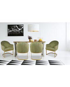 Everest Stuhl / Sessel mit Samtbezug Khaki