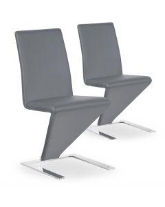 Lot de 2 chaises design et modernes grises Flash