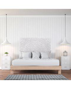 Flora Kopfteil Bett 140cm aus Holz Weiß