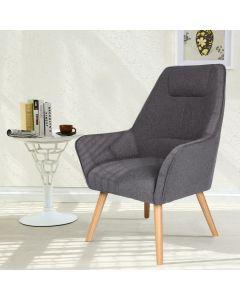 Fox Skandinavischer Sessel mit hoher Rückenlehne, Stoffbezug Grau
