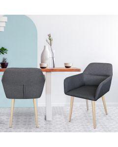 Fraydo Skandinavischer Stuhl / Sessel mit Stoffbezug Dunkelgrau