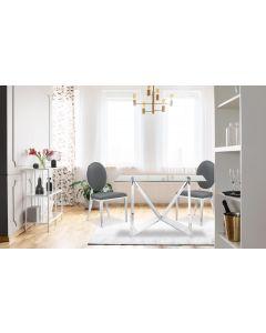 Sofia Set mit 2 Medaillon Stühlen mit Kunstlederbezug, Grau