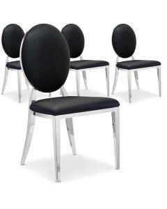 La chaise Sofia noire, avec son dossier oval rembourré et ses pieds en métal brillant