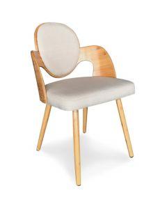 Galway Set mit 2 skandinavischen Stühlen Naturholz und Stoffbezug Beige