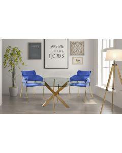 Ginko Set mit 2 Stühlen / Sesseln mit Samtbezug Blau