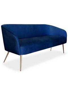 Canapé 3 places Goldman Velours Bleu Pieds Or