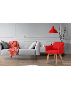 Gybson Skandinavischer Stuhl / Sessel mit Stoffbezug Rot