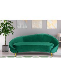 Havane 3-Sitzer Sofa mit goldenen Metallbeinen und Samtbezug Grün