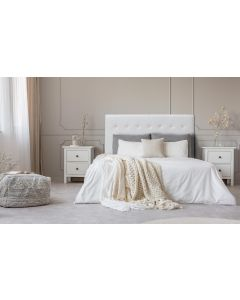 Luxor Kopfteil Bett 160cm mit Kunstlederbezug Weiß