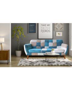 Bombay Skandinavisches 3-Sitzer Sofa Bunt & Blau