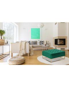 Hudson Quadratischer Polsterhocker mit Samtbezug Grün