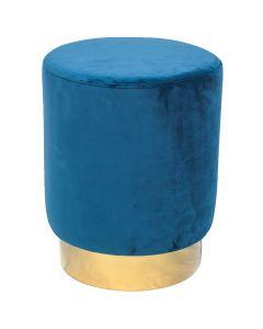Tabouret Jona Velour Bleu Pied Or