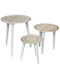 Ensemble de 3 tables gigogne Kairouan Blanc et pied Or